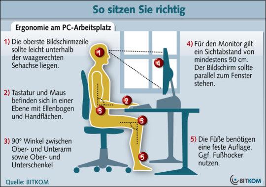 ergonomie im arbeitszimmer und b ro. Black Bedroom Furniture Sets. Home Design Ideas